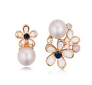 Women's Drop Earrings Crystal Pearl Natural Costume Jewelry Mismatch Austria Crystal Alloy Flower Cross Jewelry For Daily