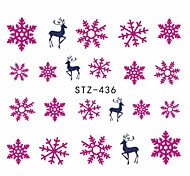 1pcs Sweet Christmas Nail Art Water Transfer Decals  Beautiful Snowflakes Lovely Deer Design Nail Sticker Nail Beauty Decoration STZ-436