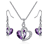 Women's Jewelry Set Bridal Jewelry Sets Synthetic Amethyst Crystal Love Fashion European Party Daily Crystal Zircon Cubic Zirconia Alloy