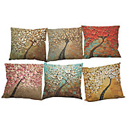 cheap -Set of 6 Oil painting three-dimensional tree  pattern  Linen Pillow Case Bedroom Euro Pillow Covers 18x18 inches Cushion cover