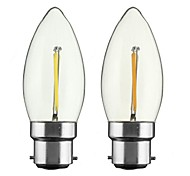 cheap -ONDENN 2pcs 2W 150-200 lm B22 E26/E27 LED Filament Bulbs CA35 1 leds COB Dimmable Warm White AC 220-240 AC 110-130 V