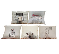Set of 5 Cartoon pet dog  pattern  Linen Pillow Case Bedroom Euro Pillow Covers 18x18 inches  Cushion cover
