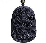 Ожерелья с подвесками Обсидиан Геометрической формы Дракон Синтетические драгоценные камни В виде подвески Геометрический Мода Магнитная