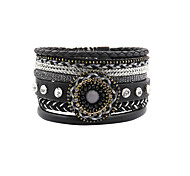 Leather Bracelet Friendship Fashion Bohemian Handmade Crystal Leather Rhinestone Alloy Flower Irregular Jewelry For Wedding Party Special