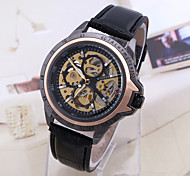 Men's Sport Watch Dress Watch Skeleton Watch Fashion Watch Wrist watch Mechanical Watch Automatic self-winding Genuine Leather Band Charm