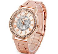 Relógio de Moda Simulado Diamante Relógio Quartzo Strass imitação de diamante Rosa Folheado a Ouro Lega Banda Vintage Ouro Rose Rosa