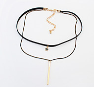 Women's Choker Necklaces Tattoo Choker Alloy Star Tattoo Style Double-layer Fashion Gold Jewelry Daily 1pc