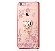 For iPhone 8 iPhone 8 Plus Case Cover Rhinestone Plating Ring Holder Back Cover Case Flower Soft TPU for Apple iPhone 8 Plus iPhone 8