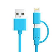 MFI Certified 2 in 1 Micro USB Data Cable Charge Cable for iPhone X 8 8 Plus 7 6s Plus SE 5s iPad 4 mini Samsung Android Smart Phone