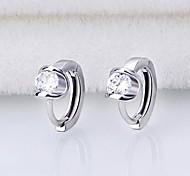 Earrings 925 Sterling Silver AAA Zircon Hoop Earrings Jewelry Wedding Party Daily Casual