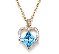 Ожерелья с подвесками Кристалл Хрусталь В форме сердца Базовый дизайн В виде подвески Простой стиль Темно-синий Бижутерия Повседневные 1шт