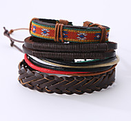 cheap -Men's Leather Bracelet Vintage Punk Leather Round Jewelry Christmas Gifts Anniversary Birthday Gift Sports Valentine Costume Jewelry Black