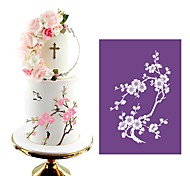 cheap -Plum Blossom Mesh Stencil Lace Cake Stencil DIY Cake Decorating Tools Soft Fabric Cake Stencils for Painting Fondant Mold MST-13