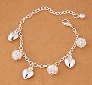 Women's Charm Bracelet Fashion Costume Jewelry Alloy Round Heart Cut Jewelry For Party