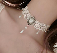 cheap -Women's Flower Imitation Pearl Imitation Pearl Lace Choker Necklace  -  Floral Tattoo Style Dangling Style White Necklace For Wedding