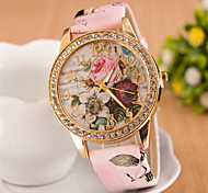 cheap -Women's Quartz Simulated Diamond Watch Wrist Watch Imitation Diamond PU Band Flower Dress Watch Fashion White Red Pink