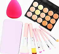 15 Colors Facial Face Contour Concealer Cream Palette+7PCS Pink Box Makeup Brushes Set Kit+Powder Puff