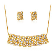 Women's Jewelry Set Classic Fashion Party Gift Daily Office & Career Rhinestone Gold Plated Alloy Geometric 1 Necklace 1 Pair of Earrings