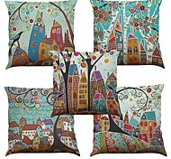 Set of 5 Hand Painted House Tree Pattern  Linen Pillowcase Sofa Home Decor Cushion Cover (18*18inch)