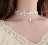 cheap -Women's Flower Imitation Pearl Imitation Pearl Lace Choker Necklace Y-Necklace  -  Floral Tattoo Style Flower Style White Necklace For