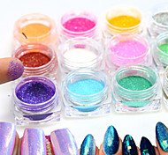 12bottle/set  Hot Fashion Colorful Nail Art Glitter Mermaid Powder Decoration Nail DIY Magic Mirror Sparkling Powder Nail Glitter Pigment M01-12