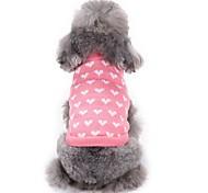 Недорогие -Кошка Собака Свитера Одежда для собак С сердцем Розовый Акриловые волокна Костюм Для домашних животных Муж. Жен. На каждый день Мода