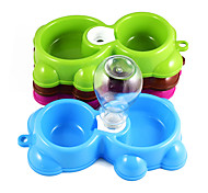 New Fashion plastic dog drinking bowl Little bear double bowl cat food bowl A bowl of dual-use dog bowls free shipping