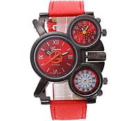 Недорогие -Муж. Армейские часы Кварцевый С тремя часовыми поясами Кожа Группа Cool Черный Красный Темно-синий