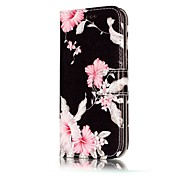 For Samsung Galaxy A3(2017) A5(2017) Case Cover Pink Flower Pattern Painted Card Holder PU Leather Material Mobile Phone Case A3(2016) A5(2016)