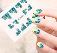 5pcs/set Hot Fashion Sweet Style Nail Sticker Beautiful Emerald-green Feather Design Nail Art Water Transfer Decals Fashion Feather Beauty STZ-013