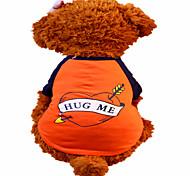 Недорогие -Собака Футболка Одежда для собак С сердцем Оранжевый Хлопок Костюм Для домашних животных Муж. Жен. Мода