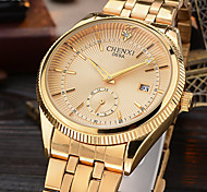 cheap -Men's Wrist Watch Japanese Calendar / date / day / Imitation Diamond / Cool Alloy Band Luxury / Sparkle / Casual Gold