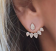 cheap -Women's Rhinestone Stud Earrings Front Back Earrings - Euramerican Fashion Gold Silver Teardrop Earrings For Party Daily