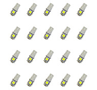 20Pcs T10 5*5050 SMD LED Car Light Bulb White Light DC12V