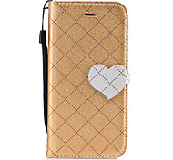 For iPhone 7 Plus 7 Diamond Pattern Heart Magnetic Buckle PU Leather Material Wallet Function Phone Case For 6 Plus 6S 6