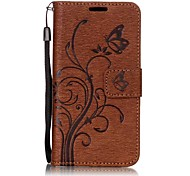 For Samsung Galaxy A7(2017) A5(2017) Butterfly and Flower Embossed Pattern PU Leather Material Wallet Function Phone Case A3(2017) A510 A310