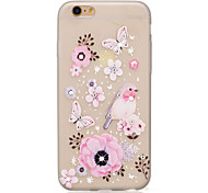 Butterfly and Flower Pattern TPU Material Rhinestone Glow in the Dark Soft Phone Case for iPhone 7 7Plus 6S Plus 6 5 SE