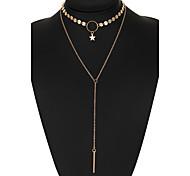 Women's Choker Necklaces Diamond Star Alloy Unique Design Bikini Silver Gold Jewelry For Wedding Party Daily Casual 1pc