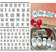 1pcs Fashion Creative Design Nail Art 3D Stickers Personality English Alphabet Design Beautiful Flower Nail DIY Beauty Creative Decoration F120