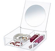Недорогие -Зеркало Коробка с косметикой Others Хранение косметики Однотонный Квадрат Акрил