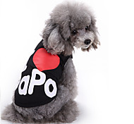 cheap -Cat Dog Shirt / T-Shirt Vest Dog Clothes Letter & Number Black Gray Cotton Costume For Pets Men's Women's Cute Casual/Daily Fashion