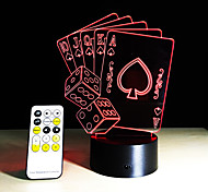 Poker Playing Cards  3D Lamp Romantic 7 Color Changing Touch Night Light Home Cafe Bar Decorative New Year Gifts