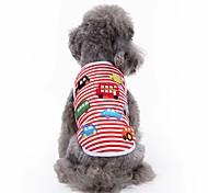 Недорогие -Кошка Собака Футболка Жилет Одежда для собак Вышивка Красный Хлопок Костюм Для домашних животных Муж. Жен. Очаровательный На каждый день