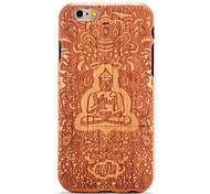 baratos -For apple iphone 6 6s em relevo padrão caso de volta tampa caso madeira grão cartoon rígido sólido de madeira