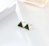 cheap -Women's Synthetic Emerald Emerald Stud Earrings - Fashion Simple Style Green Dark Green Round Triangle Earrings For Wedding