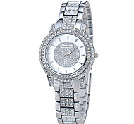 Mujer Reloj de Moda Reloj de Cristal Pavé Cuarzo Chapado en oro 18K Banda De Lujo Plata Dorado Oro Rosa