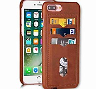 cheap -Case For Apple iPhone X iPhone 8 Card Holder Back Cover Solid Color Hard PU Leather for iPhone X iPhone 8 Plus iPhone 8 iPhone 7 Plus