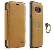 Недорогие -Кейс для Назначение SSamsung Galaxy S8 Plus S8 Бумажник для карт Кольца-держатели Магнитный Чехол Сплошной цвет Твердый Настоящая кожа для