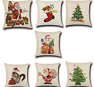Set Of 7 Merry Christmas Design Santa Claus Pillow Cover Creative Pillow Case 45*45Cm Cushion Cover