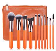 11pcs Orange Makeup Brush Set Blush Brush Eyeshadow Eyeliner Brush Eyelash Brush dyeing Brush Powder Brush Sponge Applicator Synthetic Hair